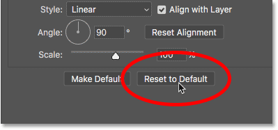 Resetting the Gradient Overlay layer style to its default settings
