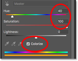 The Hue/Saturation adjustment layer controls in the Properties panel
