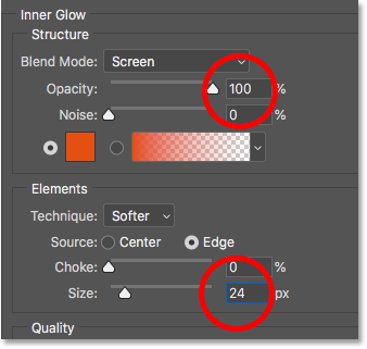 Setting the opacity and size of the Inner Glow layer effect