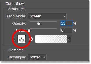 Changing the color of the Outer Glow layer effect in Photoshop