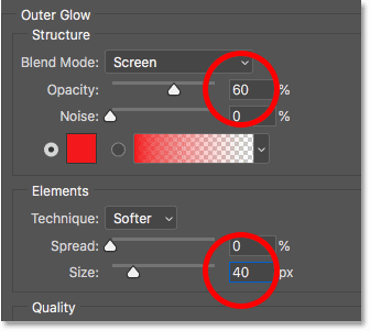 Setting the opacity and size of the Outer Glow layer effect in Photoshop