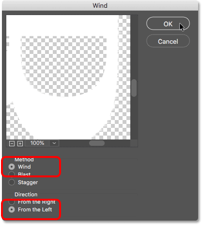 The Wind filter settings in Photoshop