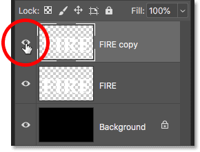 Turning off the text copy layer in the Layers panel