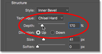 Increasing the Depth value for the Bevel and Emboss layer style