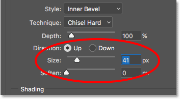 Increasing the Size value for the Bevel and Emboss layer style
