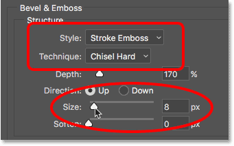 The Style, Technique and Size options for the Stroke layer style