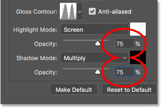 Increasing the Highlight and Shadow opacity values in Photoshop's Bevel and Emboss options