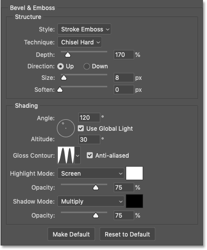 Photoshop's Bevel and Emboss settings for the Stroke in the Gold text effect