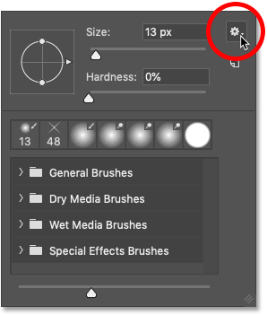 Clicking the Brush Preset Picker's menu icon in Photoshop CC