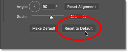 Resetting the Gradient Overlay layer effect to the default settings in Photoshop