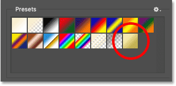 The new Gold gradient appears in the Presets area in the Gradient Editor
