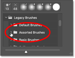 Opening the Assorted Brushes set in Photoshop CC