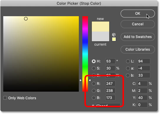 Changing the color for the left side of the gold gradient in Photoshop