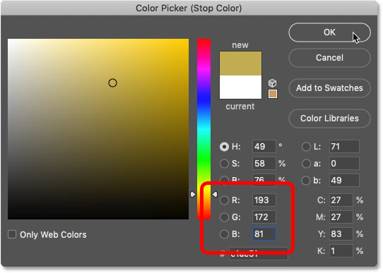 Changing the color for the right side of the gold gradient in Photoshop