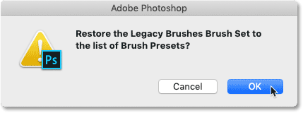 Restoring the Legacy Brushes brush set in Photoshop CC