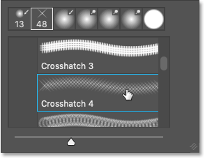 Selecting the Crosshatch 4 brush from the Assorted Brushes in Photoshop CC