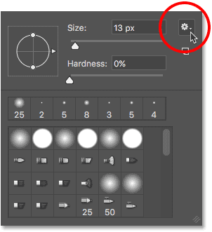 Clicking the menu icon in the Brush Preset picker in Photoshop