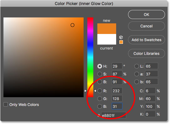 Changing the inner glow color using the Color Picker