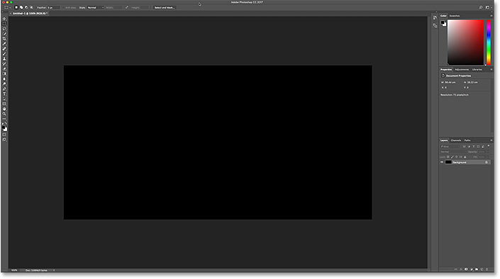 The Photoshop document after filling it with black.
