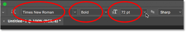 Choosing a font for the gold text effect in the Options Bar in Photoshop.