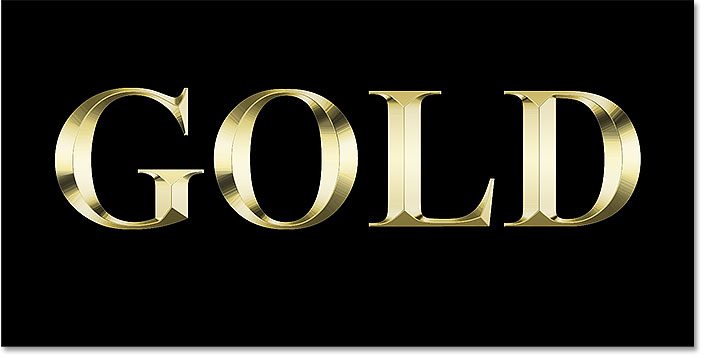 The gold text effect after adjusting the Bevel and Emboss size value in Photoshop