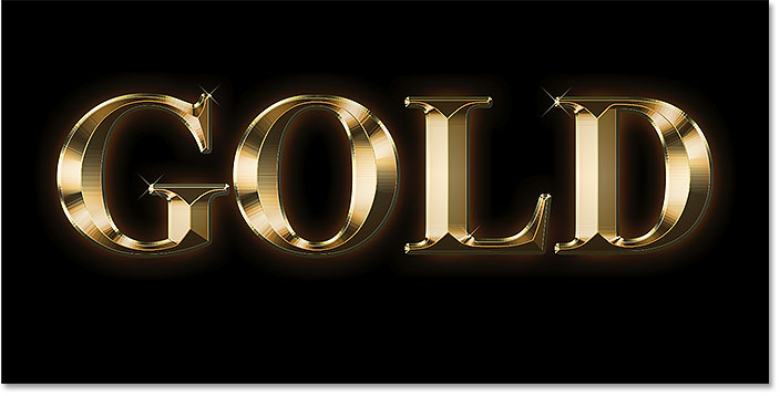 A gold text effect created in Photoshop