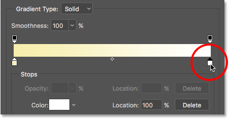 Double-clicking the white color stop in the Gradient Editor