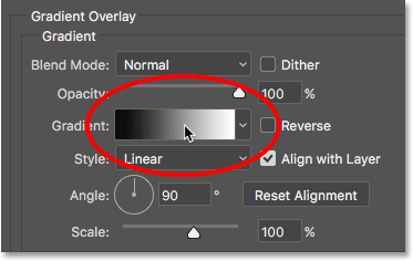 Clicking the gradient preview bar in the Layer Style dialog box
