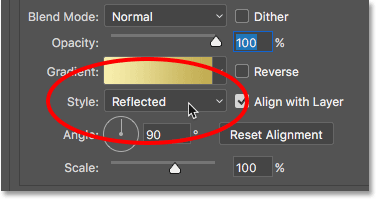 Changing the gradient Style from Linear to Reflected.