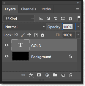 The Layers panel in Photoshop showing the Type layer and the Background layer