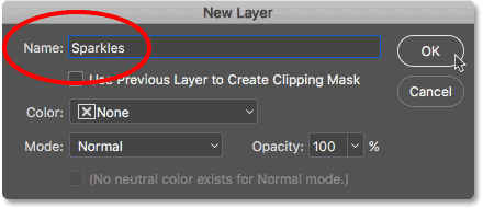 Naming the new layer