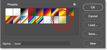 The new Gold gradient appears in the Presets area in the Gradient Edito