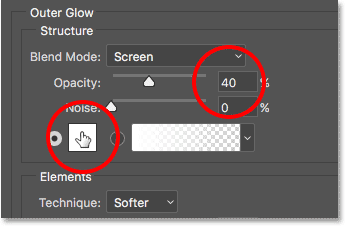 Setting the Opacity and changing the color of the Outer Glow