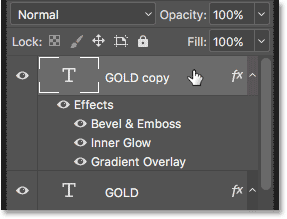 Selecting the top Type layer in the Layers panel.
