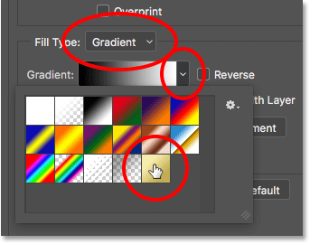The Gradient options for the Stroke layer style