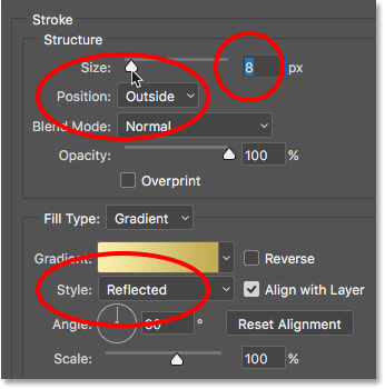 The Stroke options in the Layer Style dialog box
