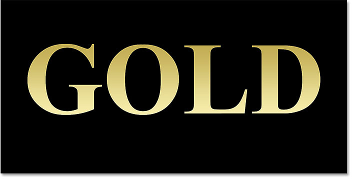 The gold text after editing and applying the gradient.