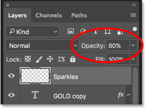 Lowering the opacity of the Sparkles layer