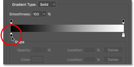Double-clicking the black color stop in the Gradient Editor