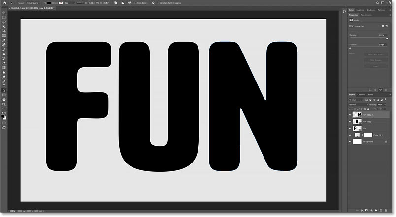 Each letter in the word is now on a separate layer in Photoshop's Layers panel