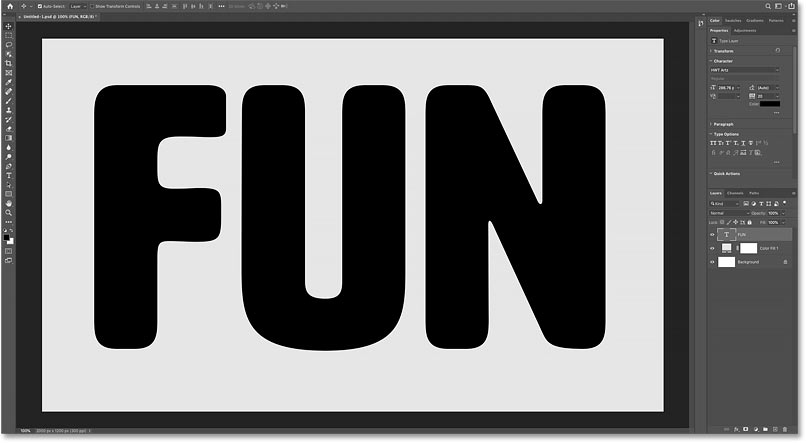 The text after adjusting the letter spacing in Photoshop