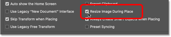 Leaving the Resize Image During Place option turned on in Photoshop's Preferences