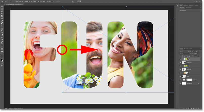 Resizing and moving the third image inside the letter with Photoshop's Free Transform command