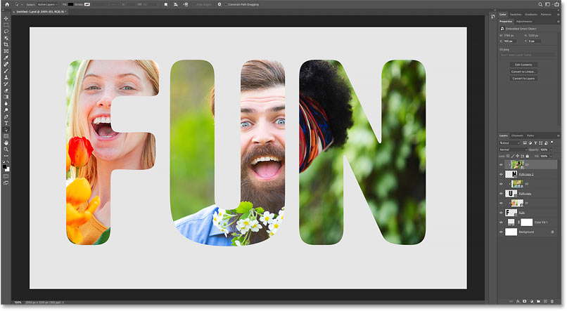 The result after clipping the first image to the first letter in Photoshop