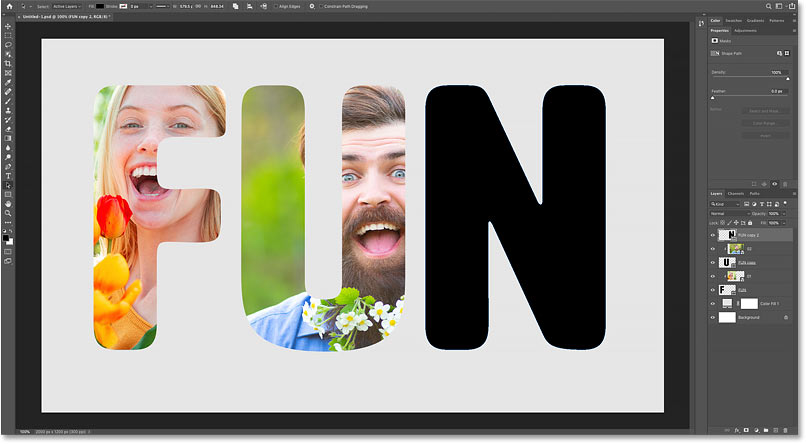 Turning on the third letter in the Photoshop document