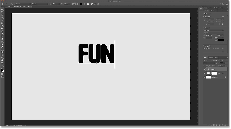 Adding the text to the Photoshop document