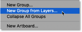 Choosing the New Group from Layers command in Photoshop's Layers panel menu