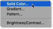 Adding a Solid Color fill layer to the Photoshop document