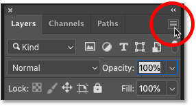 Opening the Layers panel menu in Photoshop