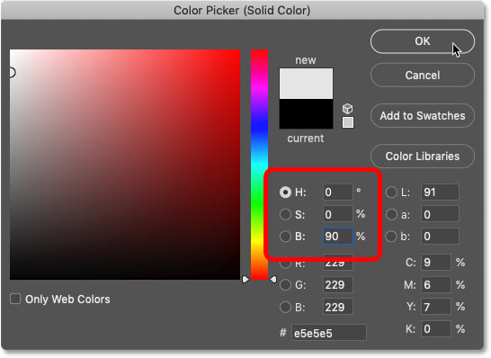 Setting H to 0, S to 0 and B to 90 percent in Photoshop's Color Picker